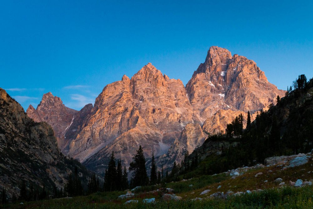 Twilight Over the Cathedral Group from Greater Yellowstone Trail