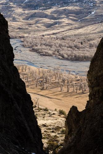 Hiker on Steep Ledge