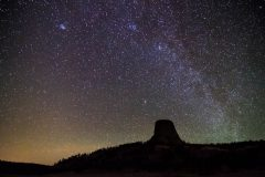 Devils Tower Under Milky Way Galaxy