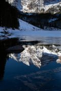 Maroon Bells Reflected in Icy Water