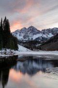 Winter Maroon Bells Above Reflection