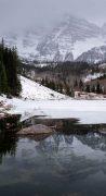 Winter Maroon Bells Above Maroon Lake
