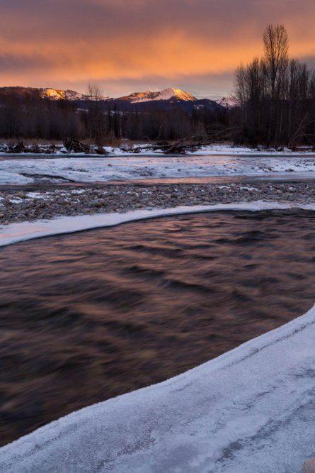 Gros Ventre River Flowing Below Jackson Peak