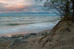 Windy Sunset on Lake Michigan