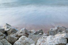 Waves Crashing on Rocky Beach