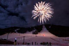 Fireworks Over People on Ski Run