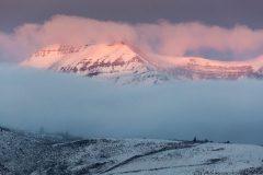 Teton Mountains Breaking Through Fog