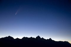 Comet Neowise High Above Teton Mountains