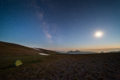 Moon and Milky Way Above Tent