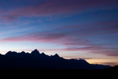 First Stars Emerging over Teton Mountains