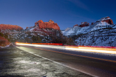Cars Driving Highway 89A Below Buttes