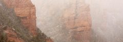 Snow Storm and Red Rock Cliffs