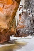 Snow and Sandstone Canyon Walls