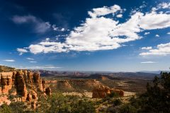 The red rocks of Sedona, Arizona with Doe Mountain in the foreground and Cathedral Rock in the background