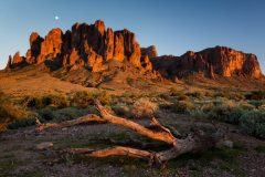 Superstition Mountain Cliffs and Moonrise