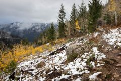 Wind Cave Trail Ascending through Early Snow