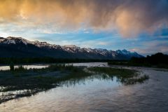 Sunset Storm over Snake River and Tetons
