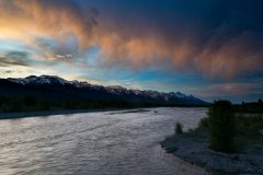 Sunset over the Snake River and Tetons
