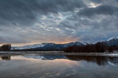 Clouds and Sunset Reflected in Snake River