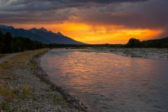 Stormy Sunrise over Tetons and Snake River