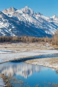 Snowy Tetons Reflection in River