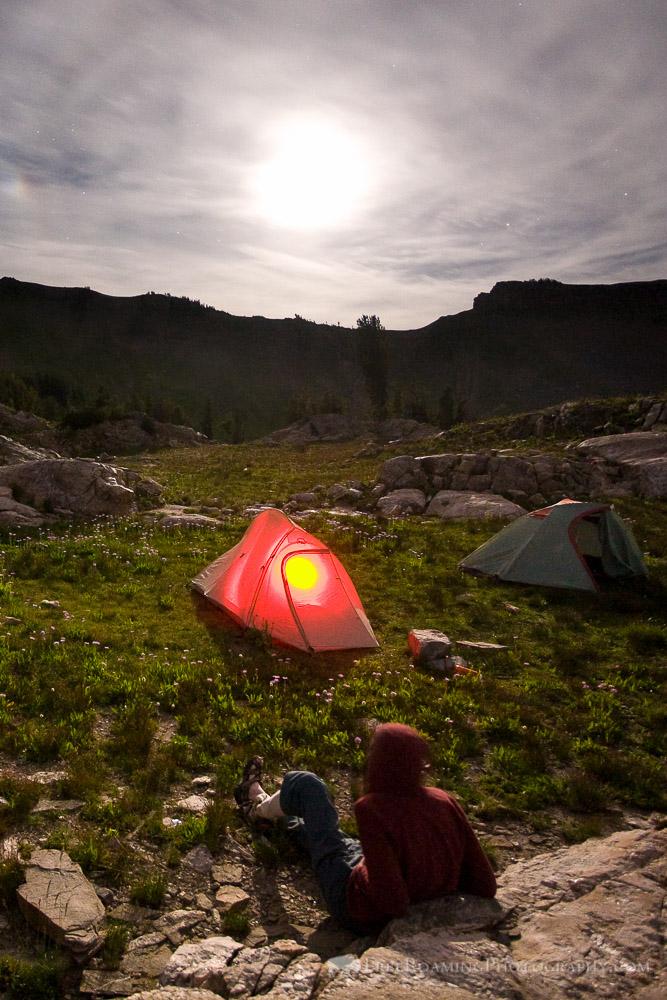 Hiker in the Alaska Basin Under Moonlight