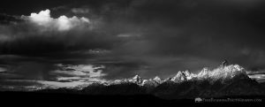 Black and White Teton Mountains Panorama