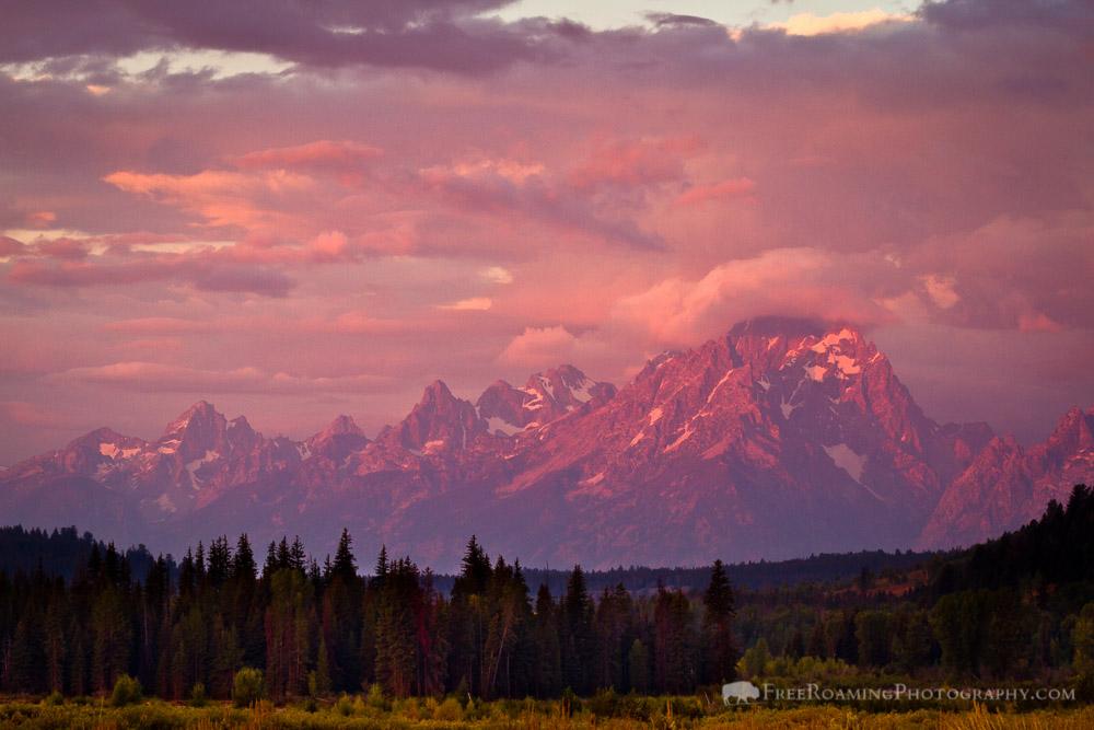 Sunrise Over the Teton Mountains