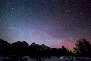 Northern Lights Over the Teton Mountains